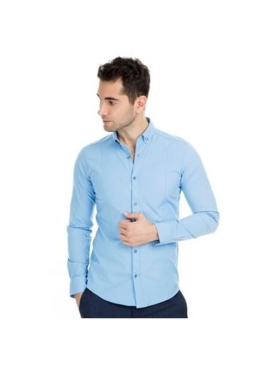 Manche Gömlek Mavi